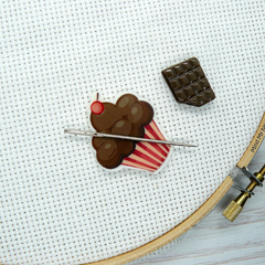 Chocolate Cupcake  Magnetic Needle Minder, Needle Nanny, Cross Stitch, Embroider