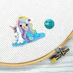 Mermaid with Unicorn Magnetic Needle Minder, Needle Nanny, Cross Stitch, Embroid