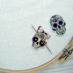 Interchangeable Sugar Skull Magnetic Needle Minder, Needle Nanny, Cross Stitch,