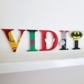 Name Plaque for Wall or Door. 9cm Super Hero Theme. 5 letters