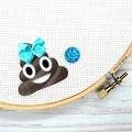 Poop Emoji with Blue Bow Magnetic Needle Minder, Needle Nanny, Cross Stitch, Emb
