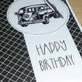 Male Happy Birthday card - surfin' combi