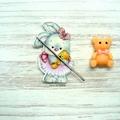 Ballerina Rabbit with Teddy Magnetic Needle Minder, Needle Nanny, Cross Stitch,