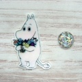 Hippo With Flowers Magnetic Needle Minder, Needle Nanny, Cross Stitch, Embroider