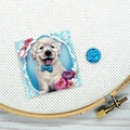 Puppy with Glasses Magnetic Needle Minder, Needle Nanny, Cross Stitch, Embroider