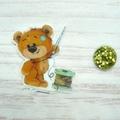 SEW BEARABLE Sewing Bear #2 Resin Magnetic Needle Minder, Needle Nanny, Cross St