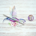 Hummingbird Magnetic Needle Minder, Needle Nanny, Cross Stitch, Embroidery, Quil