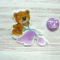 SEW BEARABLE Sewing Bear #5 Resin Magnetic Needle Minder, Needle Nanny, Cross St