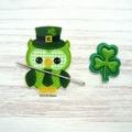 St Patrick's Day Owl Magnetic Needle Minder, Needle Nanny, Cross Stitch, Embroid