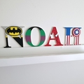 Name Plaque for Wall or Door. 9cm Super Hero Theme. 4 letters