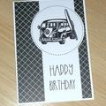 Male Happy Birthday card - surfin' combi