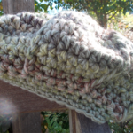 child's crocheted beret, soy and wool  yarn. earthy colours for winter warmth