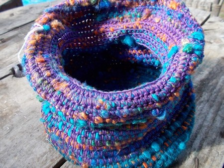 Crocheted basket made from silk and vintage rayon, colourful storage.