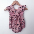 Size 18mths - Bellevue Romper - Dusty Pink Floral - Cotton - Playsuit - Ruffles