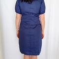 SALE Linen Dress Size Large in Navy Blue - Readymade