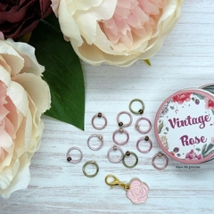 Vintage Rose Snagfree Ring Stitch Markers with Rose Charm Progress Keeper, Light