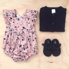 Bellevue Romper - Dusty Pink Floral - Cotton - Playsuit - Ruffles - Sizes 000-2