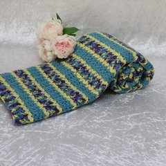 Yellow, Teal and Variegated V Stitch Blanket