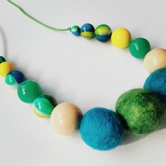 Felted colourful necklace