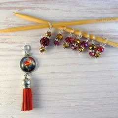 Magical Red Haired Mermaid Cabochon Markers, Mystical, Mythical, Stitch Markers,