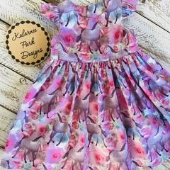 "Baby Tea Party Dress ""Floral Horses"" Size 1"