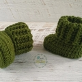 Forest Green Newborn Crochet Baby Booties Shoes Socks Pregnancy Baby Reveal