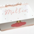 White & Soft Pink Time Capsule, Keepsake, Trinket, Treasure, Wooden, Baby Box