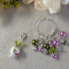 Lime and Lavender Flower Perfume Bottle Stitch Markers, Crochet Markers, Beaded