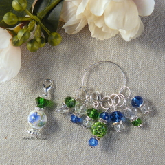 Emerald and Sapphire Flower Perfume Bottle Stitch Markers, Crochet Markers, Bead