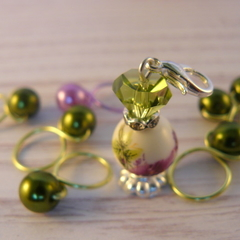 Bead Hugging Snag Free Lime and Lavender Flower  Stitch Markers, Beaded Markers,
