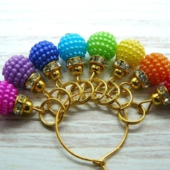 Christmas Rainbow Bayberry Bauble Stitch/ Crochet Markers, Stitch Markers, Croch
