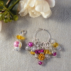 Amber and Fuchsia Flower Perfume Bottle Stitch Markers  Crochet Markers, Beaded