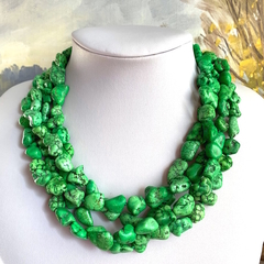 Genuine Green TURQUOISE Gemstones 4 Strands Necklace.