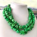 Genuine Green TURQUOISE Gemstones 4 Strands Necklace.