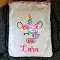 Personalised Sequin drawstring backpack, great for school, sport, dance, etc.