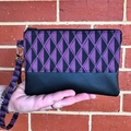 Geo Plum  - Regular Wristlet with leather accent