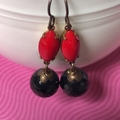 Glamour Puss...Vintage Czech Glass Dangle Earrings