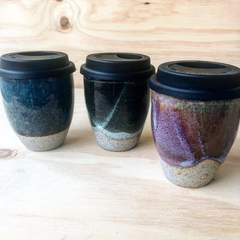 Handmade stoneware travel cups