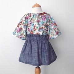 Smock Top - Lilla Floral - Peasant Top - Retro - Sizes 000-2