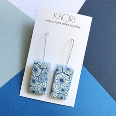 Polymer clay earrings, statement earrings in blue floral