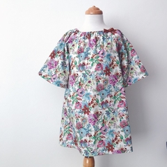 Size 3 Smock Dress - Peasant Dress - Lilla Floral - Retro - Girls