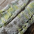 Hand knit summer scarf made from cotton yarn. green, grey, white