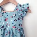 Bellevue Romper - Light Blue Floral - Cotton - Playsuit - Ruffles - Sizes 000-2