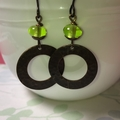 Lime Drops - Glass and Brass Earrings