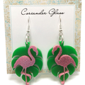 Monstera Leaf & Flamingo earrings