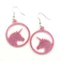 Unicorn earrings in Pink Glitter Acrylic