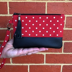 Red with dots  - Regular Wristlet with leather accent