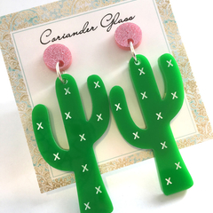Cactus Earrings with Surgical Steel Studs - Acrylic Earrings