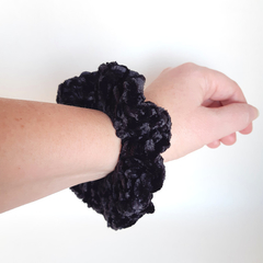 Crochet black velvet scrunchie hair tie for pony tail, messy bun, neat bun.