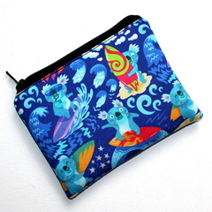 Small Coin Purse in Cute Surfing Koala Fabric